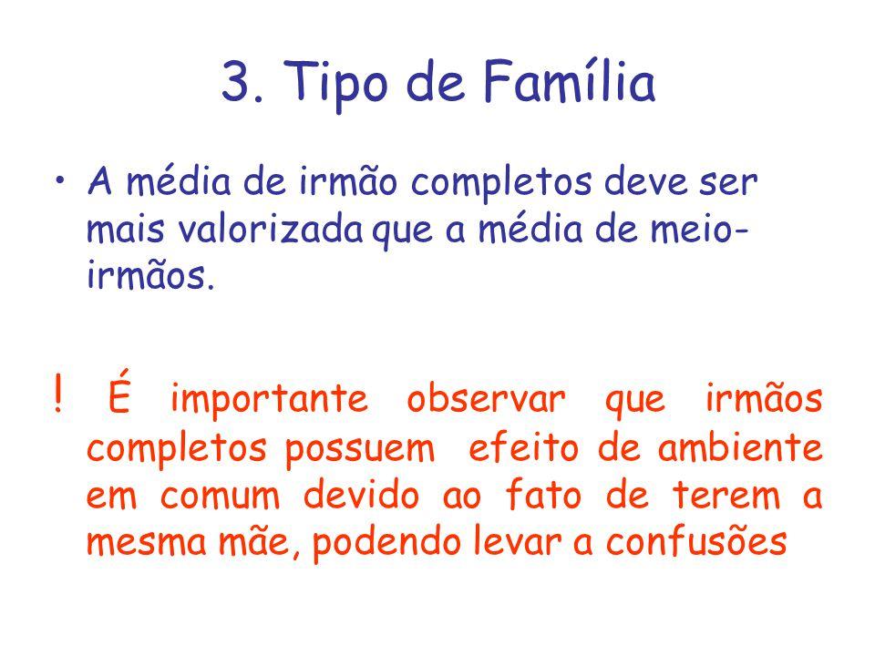 3. Tipo de Família A média de irmão completos deve ser mais valorizada que a média de meio- irmãos. ! É importante observar que irmãos completos possu