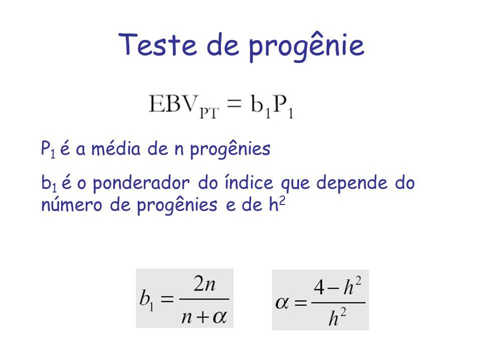 Teste de progênie P 1 é a média de n progênies b 1 é o ponderador do índice que depende do número de progênies e de h 2