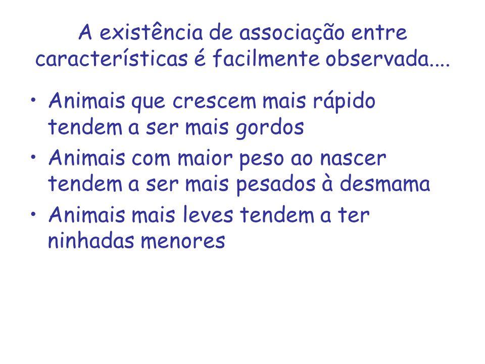 A existência de associação entre características é facilmente observada.... Animais que crescem mais rápido tendem a ser mais gordos Animais com maior