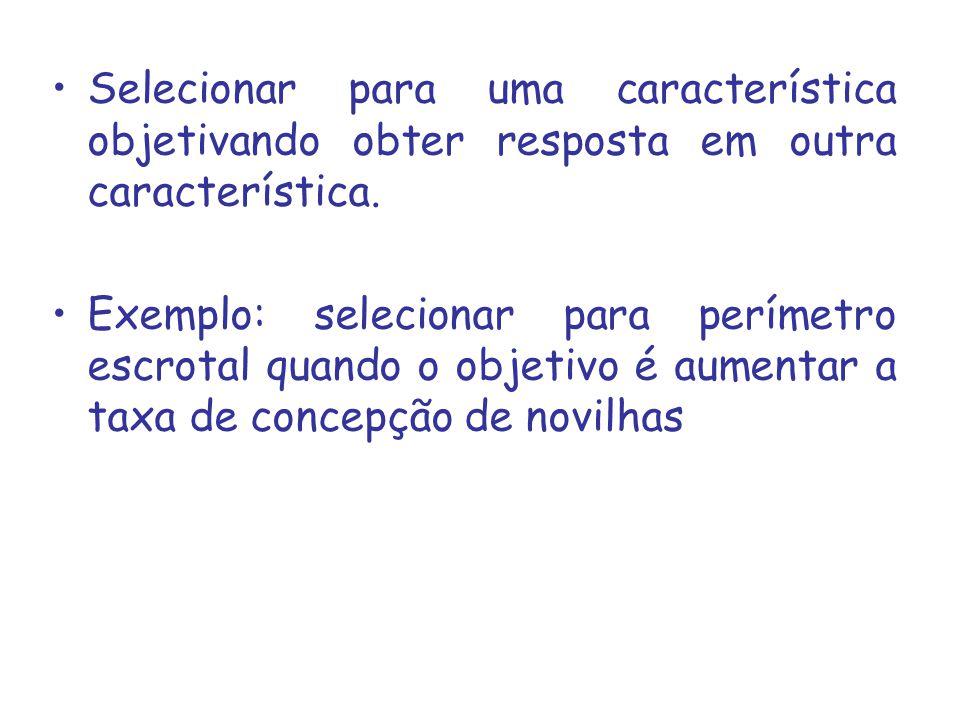 Selecionar para uma característica objetivando obter resposta em outra característica. Exemplo: selecionar para perímetro escrotal quando o objetivo é