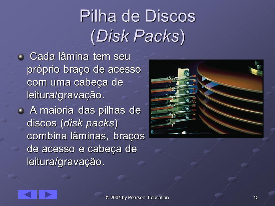 13© 2004 by Pearson Education Pilha de Discos (Disk Packs) Cada lâmina tem seu próprio braço de acesso com uma cabeça de leitura/gravação. Cada lâmina