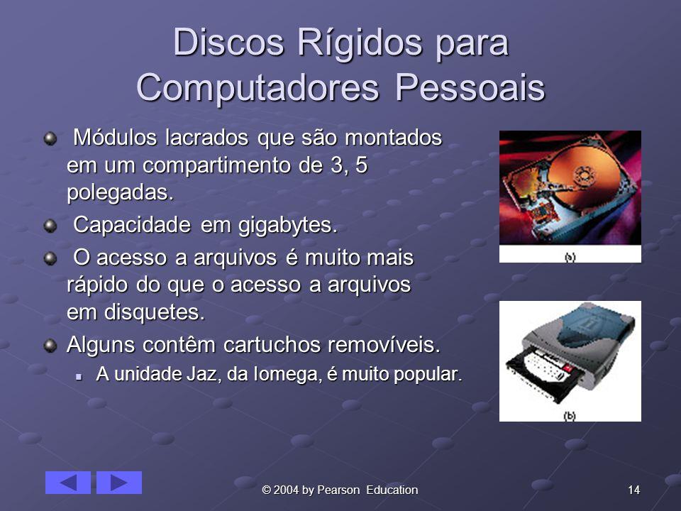 14© 2004 by Pearson Education Discos Rígidos para Computadores Pessoais Módulos lacrados que são montados em um compartimento de 3, 5 polegadas. Módul