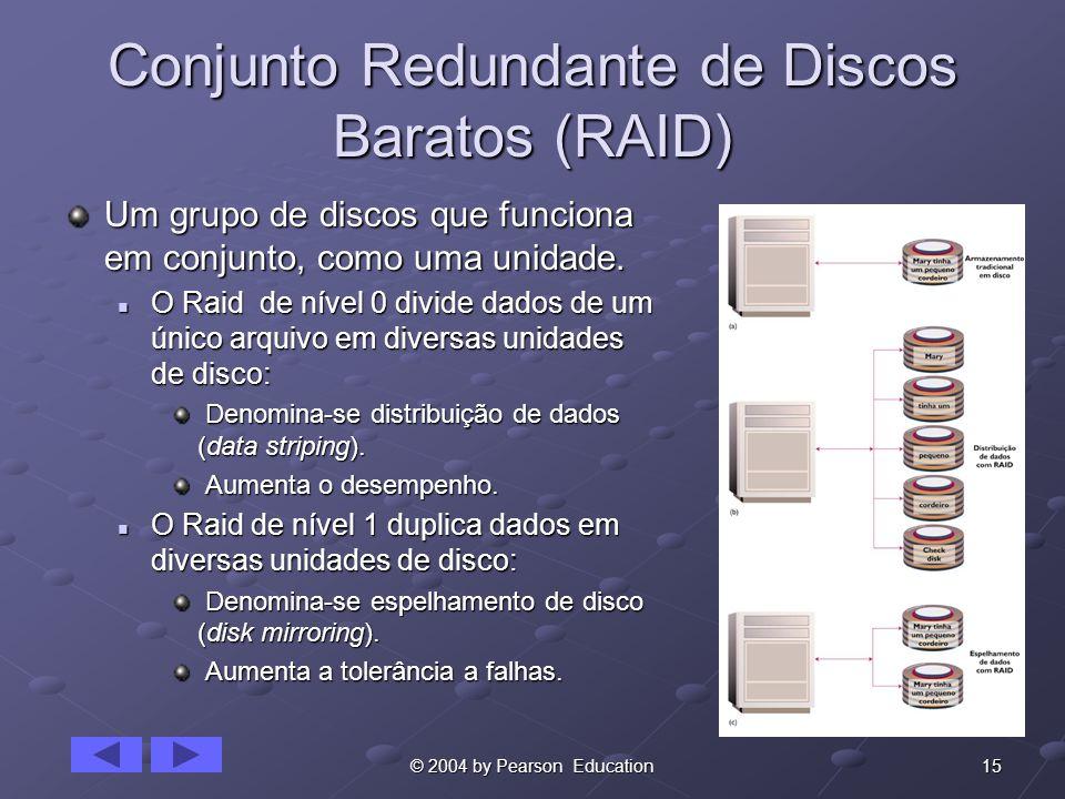 15© 2004 by Pearson Education Conjunto Redundante de Discos Baratos (RAID) Um grupo de discos que funciona em conjunto, como uma unidade.