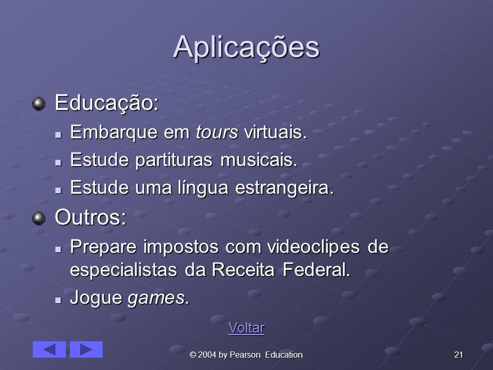 21© 2004 by Pearson Education Aplicações Educação: Educação: Embarque em tours virtuais. Embarque em tours virtuais. Estude partituras musicais. Estud