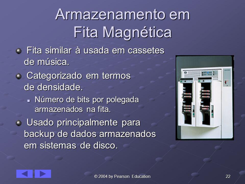 22© 2004 by Pearson Education Armazenamento em Fita Magnética Fita similar à usada em cassetes de música. Fita similar à usada em cassetes de música.