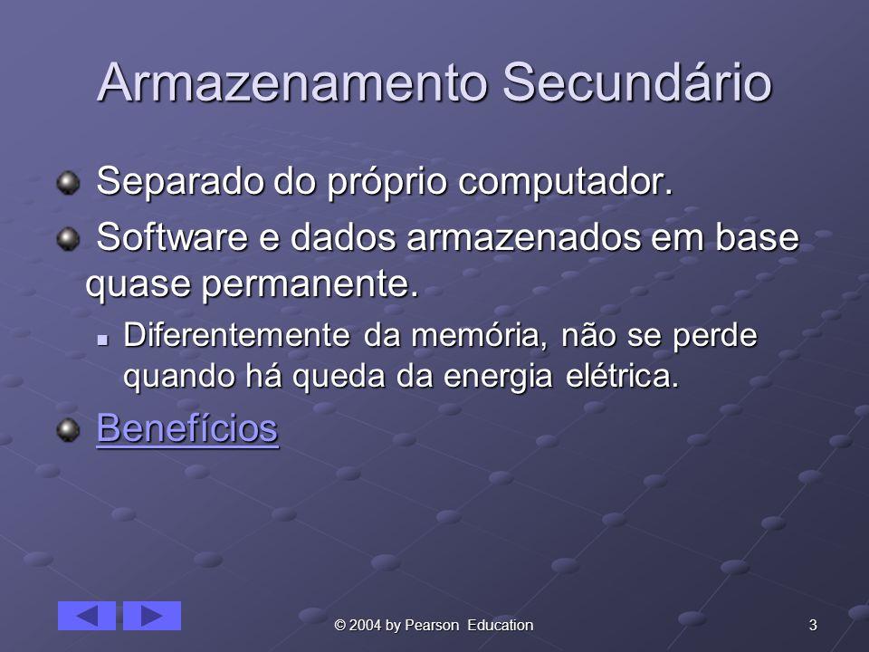 3© 2004 by Pearson Education Armazenamento Secundário Separado do próprio computador. Separado do próprio computador. Software e dados armazenados em