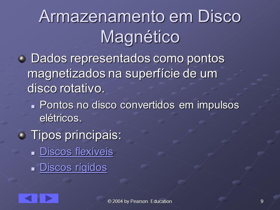 9© 2004 by Pearson Education Armazenamento em Disco Magnético Dados representados como pontos magnetizados na superfície de um disco rotativo.
