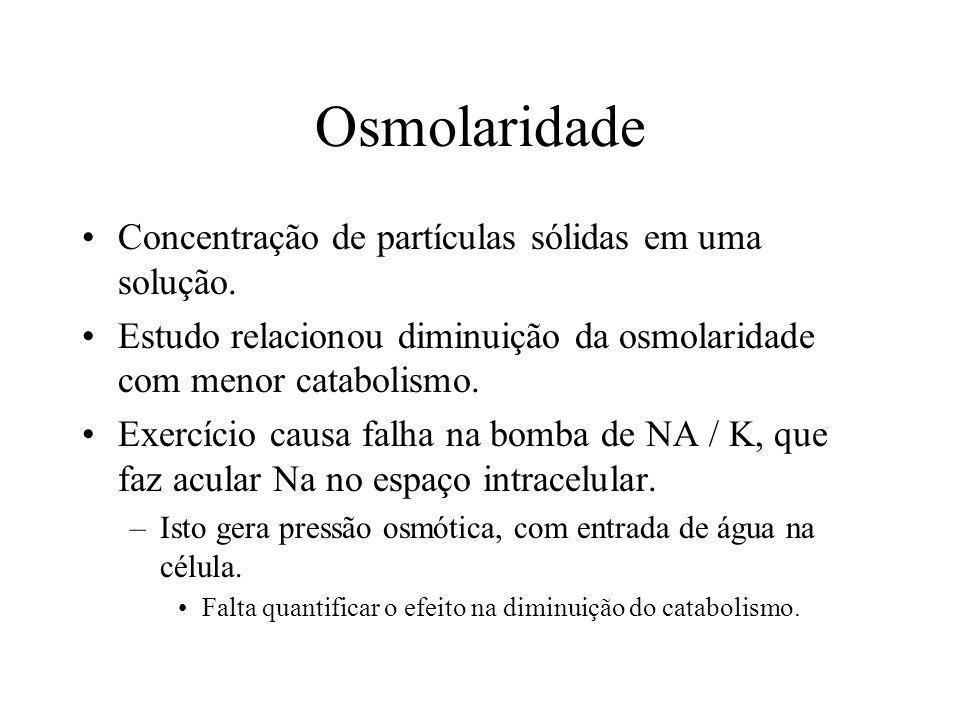 Osmolaridade Concentração de partículas sólidas em uma solução. Estudo relacionou diminuição da osmolaridade com menor catabolismo. Exercício causa fa