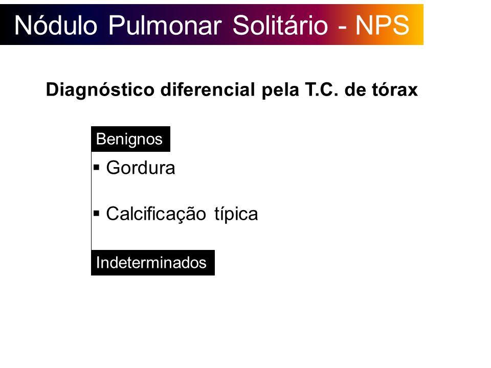 Nódulo Pulmonar Solitário - NPS Gordura Calcificação típica Benignos Indeterminados Diagnóstico diferencial pela T.C. de tórax