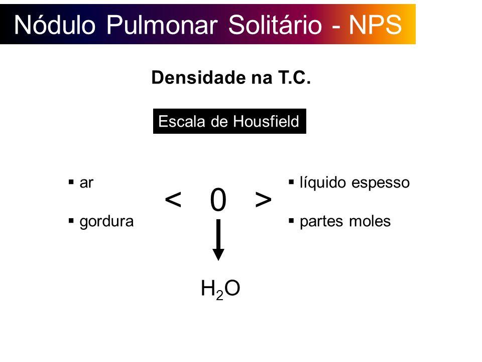 Nódulo Pulmonar Solitário - NPS Densidade na T.C. Escala de Housfield H2OH2O líquido espesso partes moles ar gordura