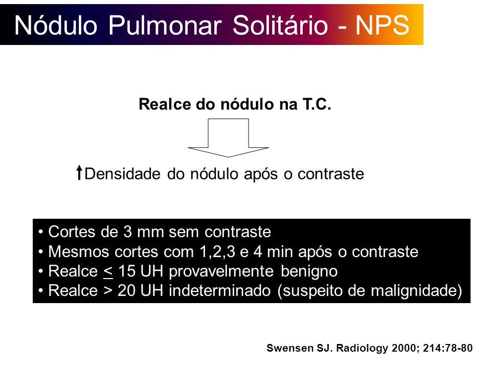 Nódulo Pulmonar Solitário - NPS Realce do nódulo na T.C. Densidade do nódulo após o contraste Cortes de 3 mm sem contraste Mesmos cortes com 1,2,3 e 4