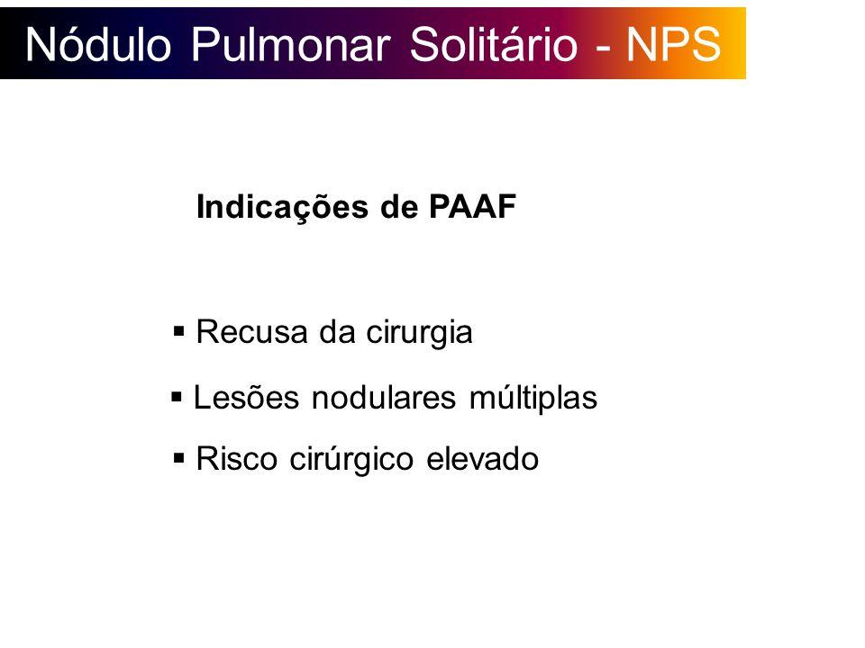 Nódulo Pulmonar Solitário - NPS Indicações de PAAF Recusa da cirurgia Lesões nodulares múltiplas Risco cirúrgico elevado