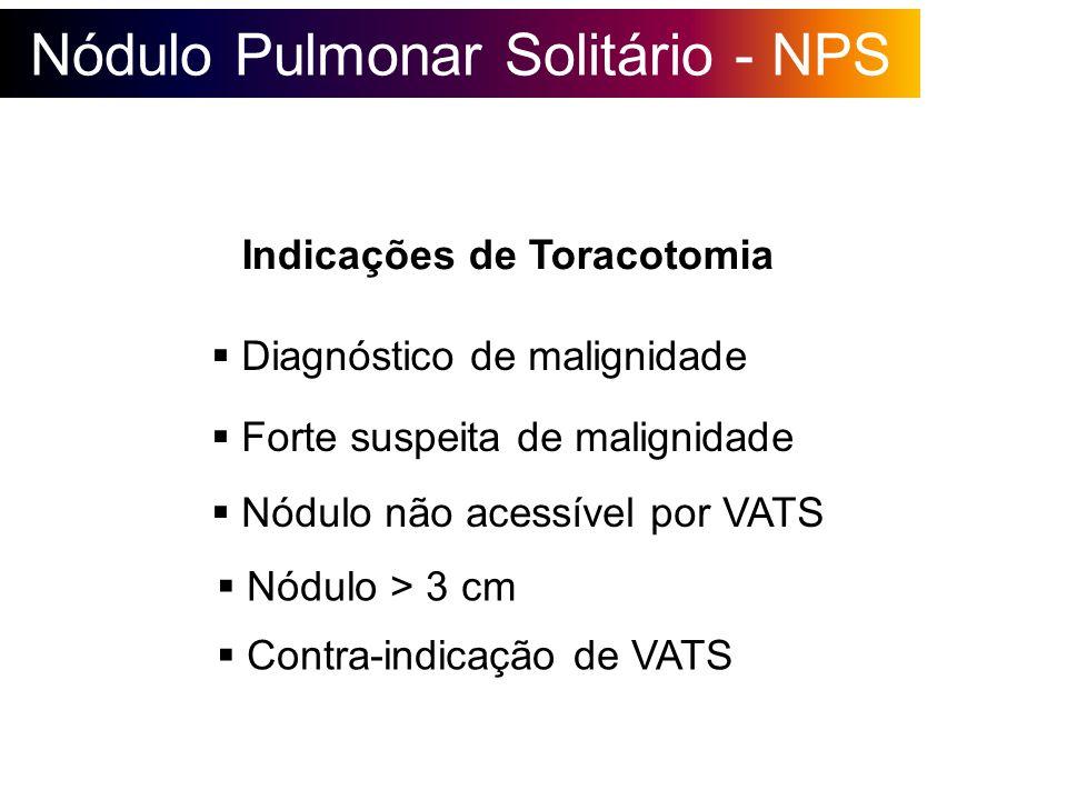 Nódulo Pulmonar Solitário - NPS Indicações de Toracotomia Diagnóstico de malignidade Contra-indicação de VATS Nódulo não acessível por VATS Forte susp