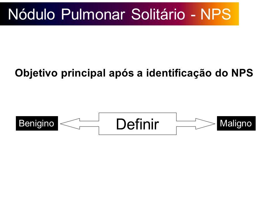 Nódulo Pulmonar Solitário - NPS Objetivo principal após a identificação do NPS Definir BeniginoMaligno