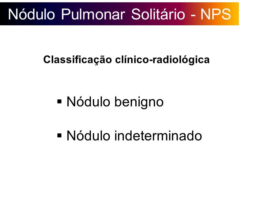 Nódulo Pulmonar Solitário - NPS Grupos de risco de câncer Antecedentes de tabagismo Idade > 50 anos História prévia de neoplasia História familiar de neoplasia Tamanho do nódulo > 2 cm