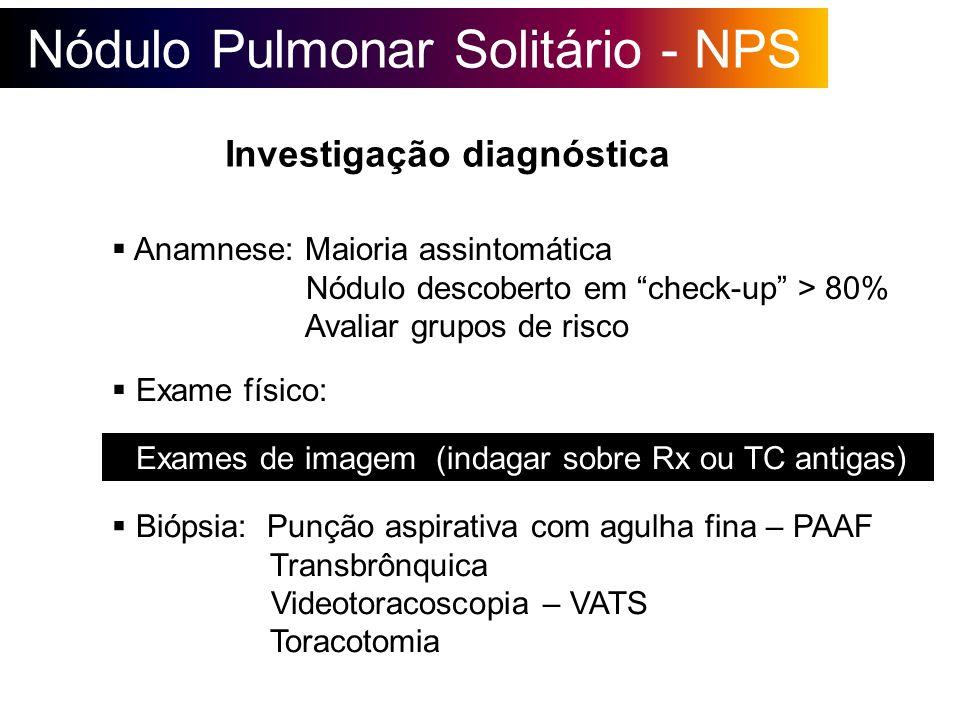 Nódulo Pulmonar Solitário - NPS Investigação diagnóstica Anamnese: Maioria assintomática Nódulo descoberto em check-up > 80% Avaliar grupos de risco E