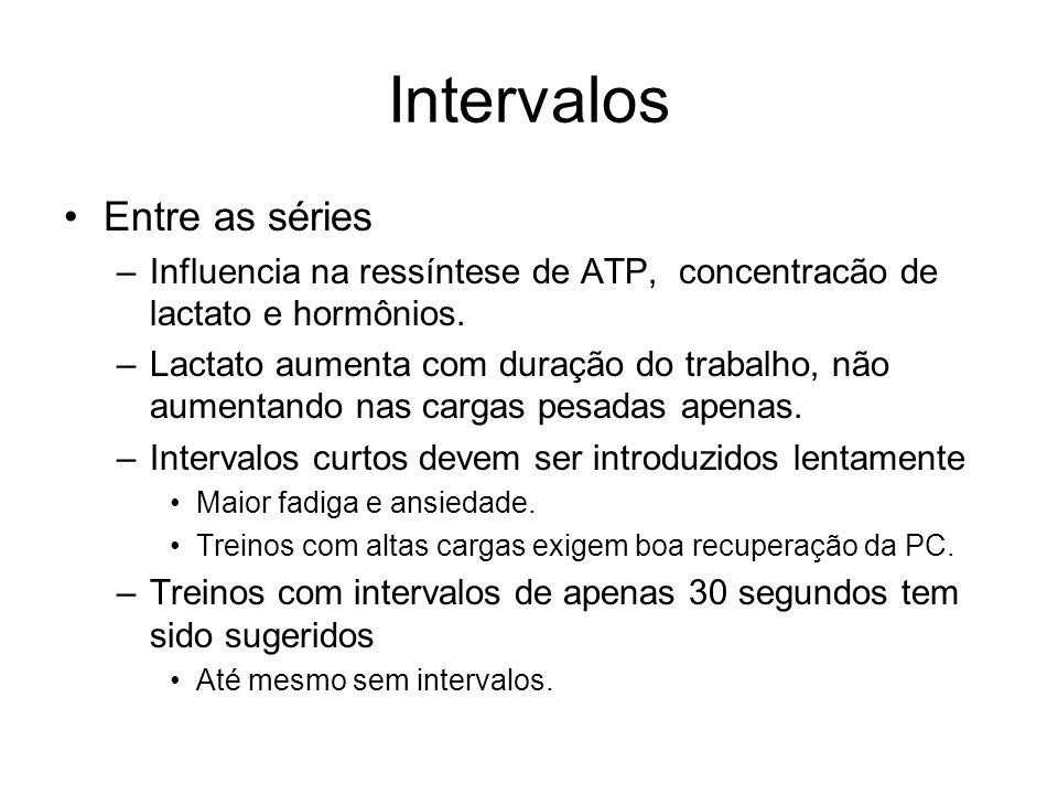 Intervalos Entre as séries –Influencia na ressíntese de ATP, concentracão de lactato e hormônios. –Lactato aumenta com duração do trabalho, não aument
