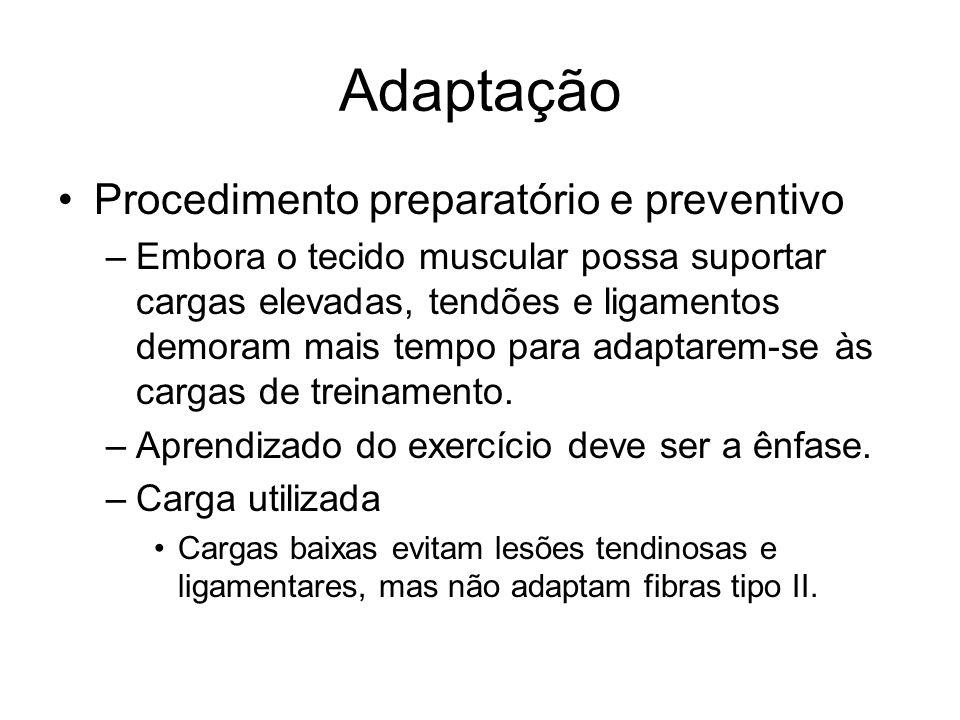 Adaptação Procedimento preparatório e preventivo –Embora o tecido muscular possa suportar cargas elevadas, tendões e ligamentos demoram mais tempo par