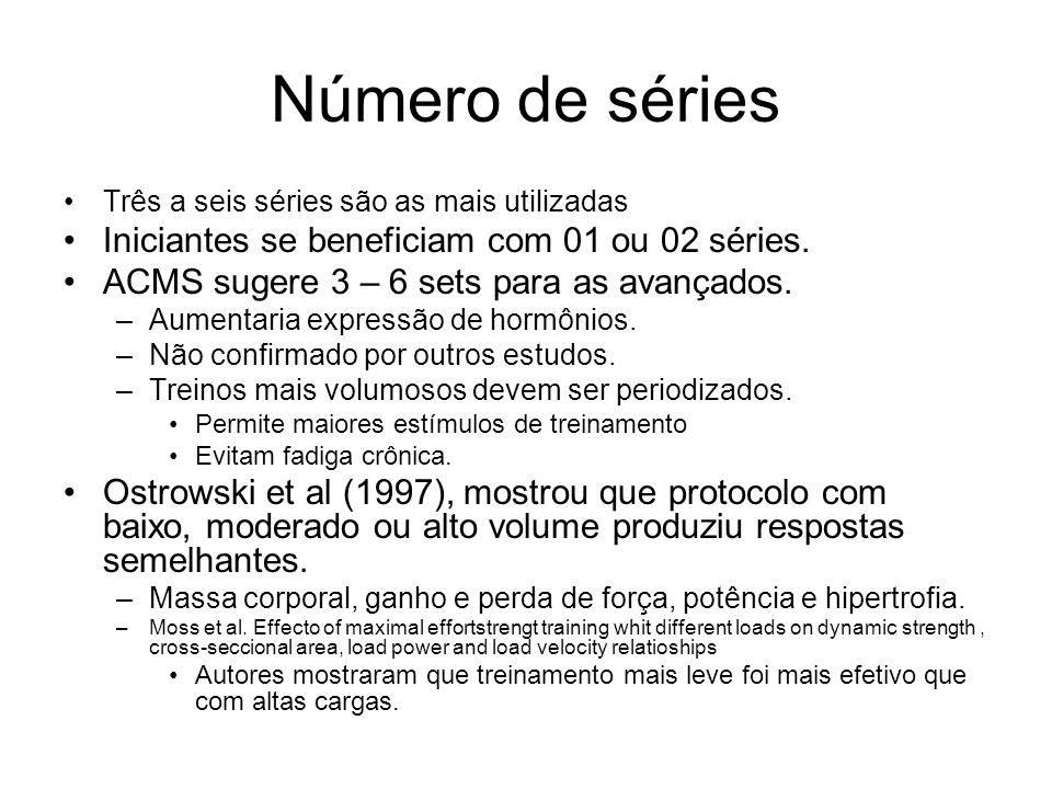 Número de séries Três a seis séries são as mais utilizadas Iniciantes se beneficiam com 01 ou 02 séries. ACMS sugere 3 – 6 sets para as avançados. –Au
