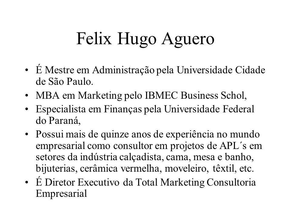 Felix Hugo Aguero É Mestre em Administração pela Universidade Cidade de São Paulo. MBA em Marketing pelo IBMEC Business Schol, Especialista em Finança
