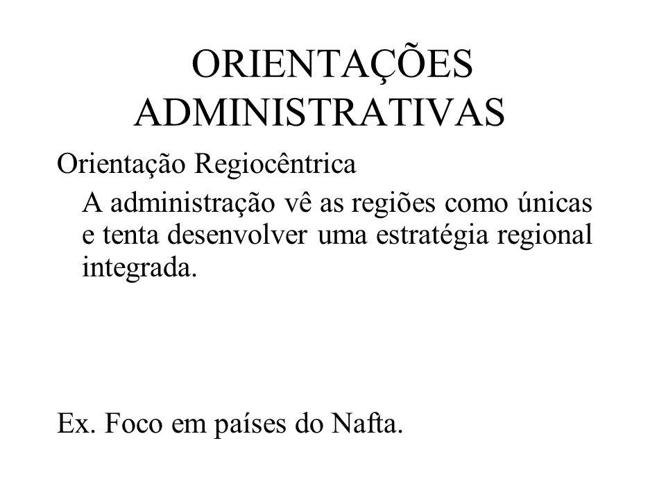 ORIENTAÇÕES ADMINISTRATIVAS Orientação Regiocêntrica A administração vê as regiões como únicas e tenta desenvolver uma estratégia regional integrada.