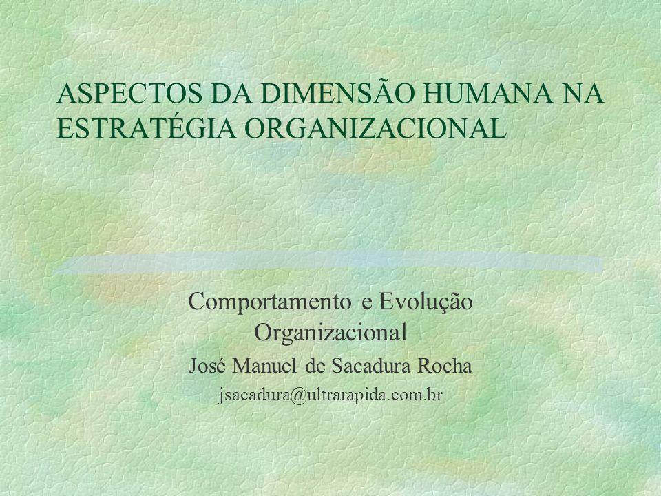 ASPECTOS DA DIMENSÃO HUMANA NA ESTRATÉGIA ORGANIZACIONAL Comportamento e Evolução Organizacional José Manuel de Sacadura Rocha jsacadura@ultrarapida.com.br
