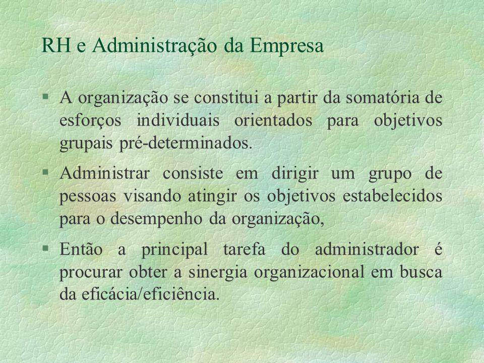 RH e Administração da Empresa §A organização se constitui a partir da somatória de esforços individuais orientados para objetivos grupais pré-determinados.