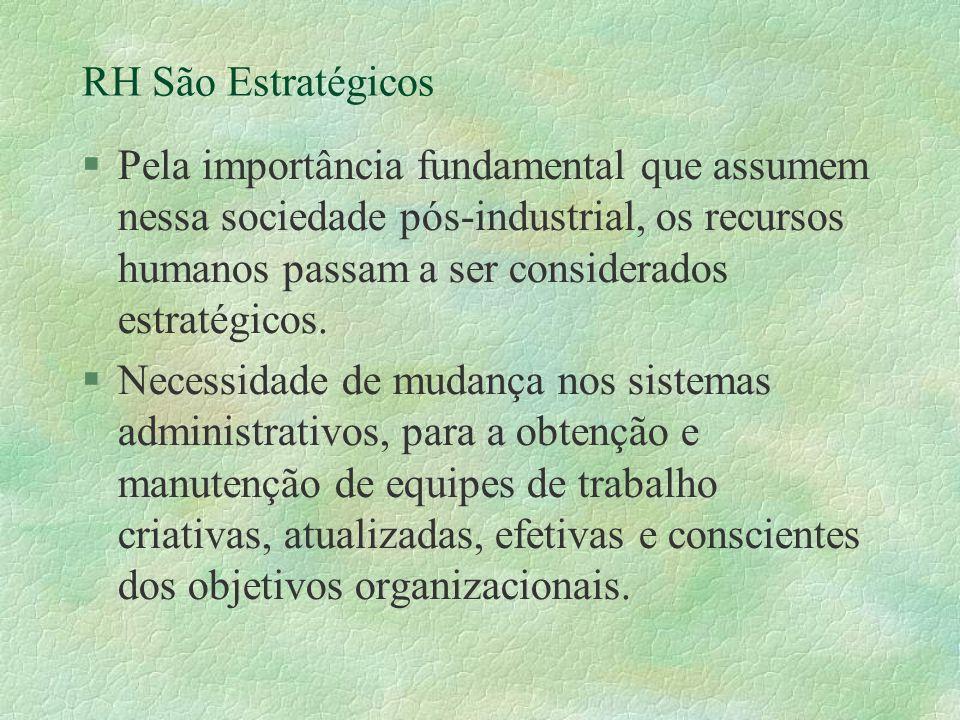 RH São Estratégicos §Pela importância fundamental que assumem nessa sociedade pós-industrial, os recursos humanos passam a ser considerados estratégicos.