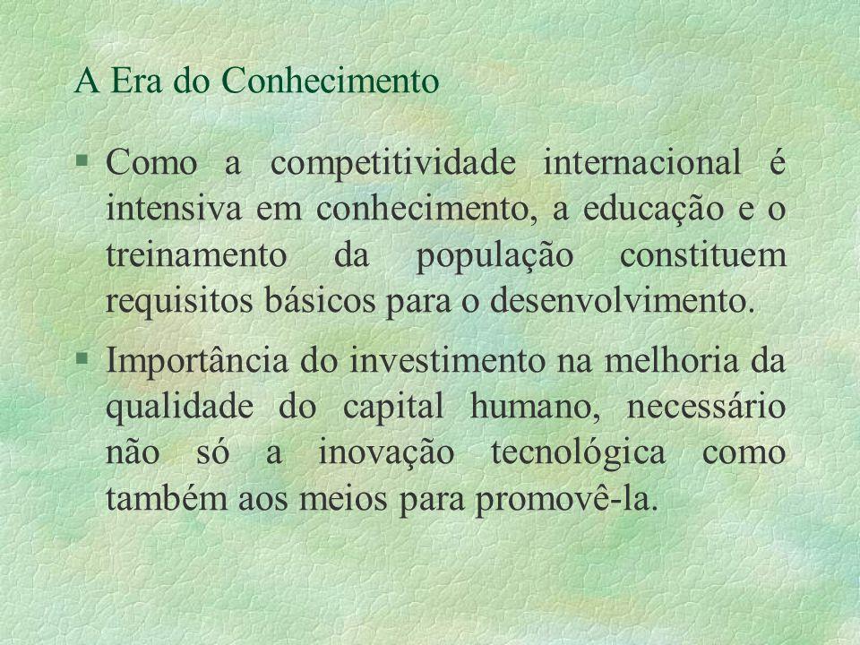 A Era do Conhecimento §Como a competitividade internacional é intensiva em conhecimento, a educação e o treinamento da população constituem requisitos básicos para o desenvolvimento.