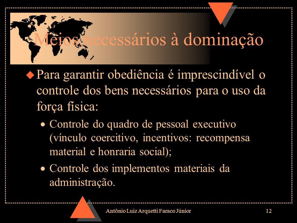 Antônio Luiz Arquetti Faraco Júnior11 Formas de poder legítimo (tipos ideais) u Tradicional u Tradicional: Baseado na crença da santidade das ordenaçõ