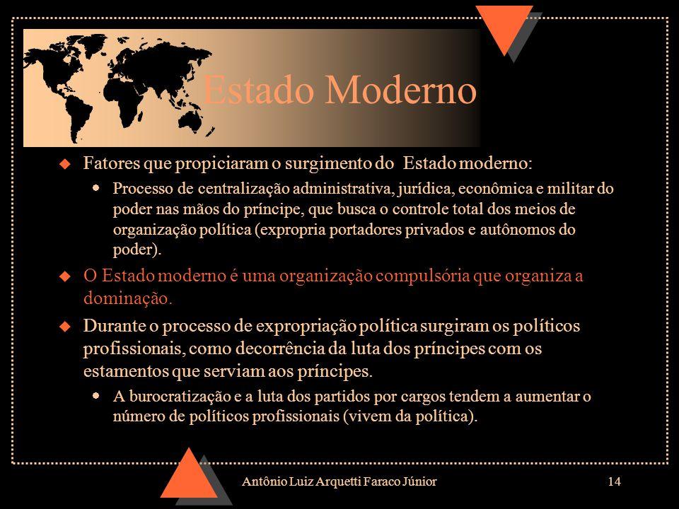 Antônio Luiz Arquetti Faraco Júnior13 Tipologia de Estados segundo o controle dos bens necessários para dominação ¶ Estados estamentais: se baseiam no