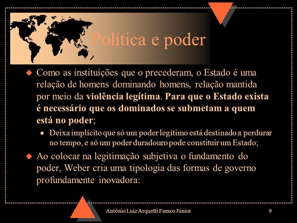 Antônio Luiz Arquetti Faraco Júnior8 u Estado: u Estado: Comunidade humana que pretende, com êxito, o monopólio do uso legítimo da força física dentro de um determinado território.