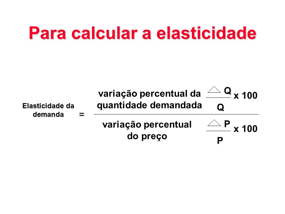 Para calcular a elasticidade Elasticidade da demanda = variação percentual da quantidade demandada variação percentual do preço Q x 100 Q P P