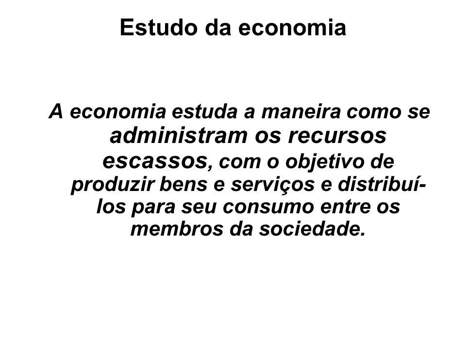 Estudo da economia A economia estuda a maneira como se administram os recursos escassos, com o objetivo de produzir bens e serviços e distribuí- los p