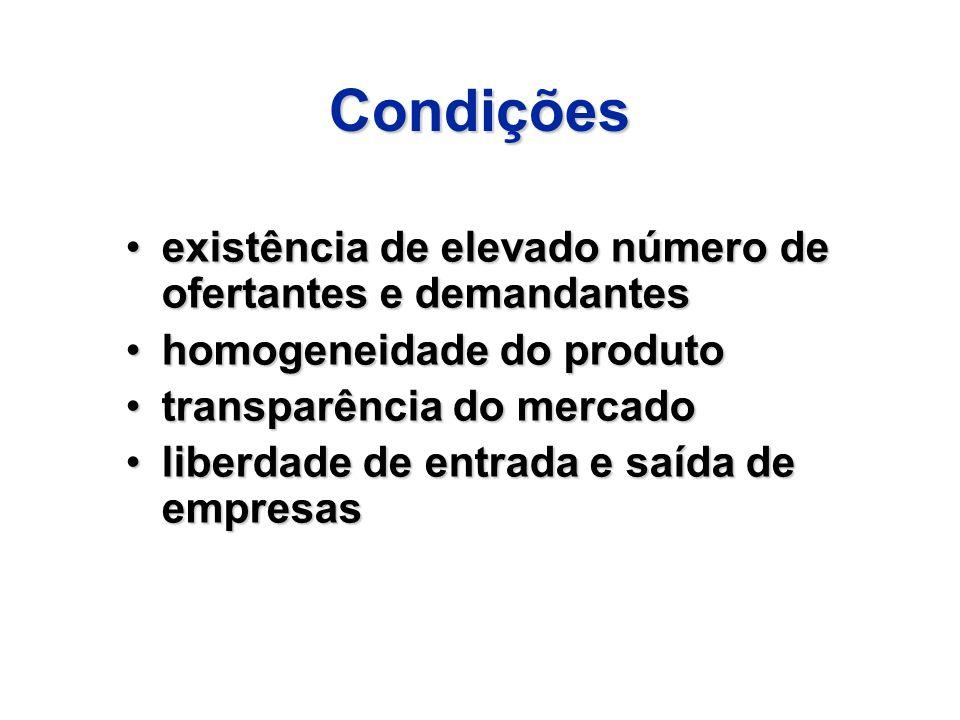 Condições existência de elevado número de ofertantes e demandantesexistência de elevado número de ofertantes e demandantes homogeneidade do produtohom