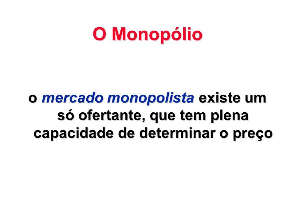 O Monopólio o mercado monopolista existe um só ofertante, que tem plena capacidade de determinar o preço