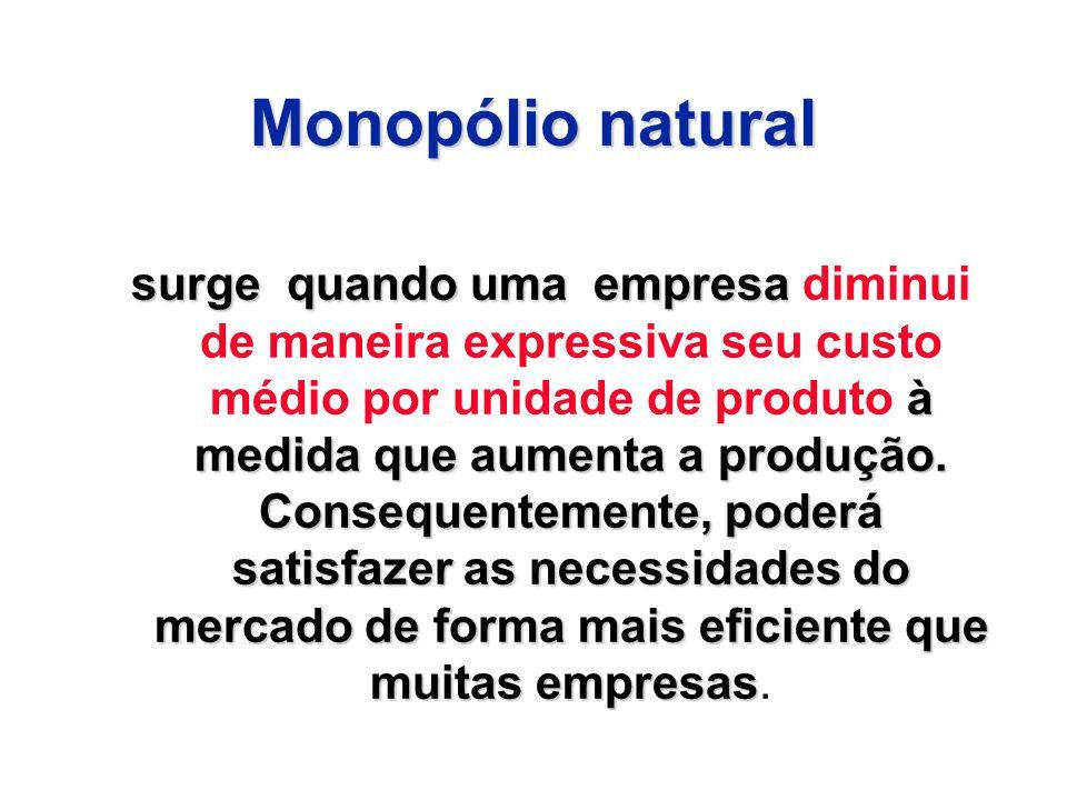 Monopólio natural surge quando uma empresa à medida que aumenta a produção. Consequentemente, poderá satisfazer as necessidades do mercado de forma ma