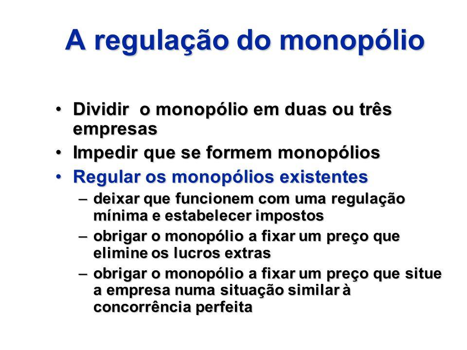 A regulação do monopólio Dividir o monopólio em duas ou três empresasDividir o monopólio em duas ou três empresas Impedir que se formem monopóliosImpe