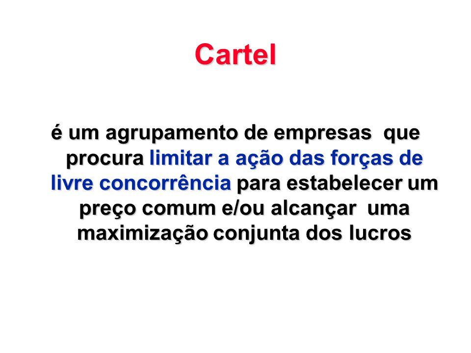 Cartel é um agrupamento de empresas que procura limitar a ação das forças de livre concorrência para estabelecer um preço comum e/ou alcançar uma maxi