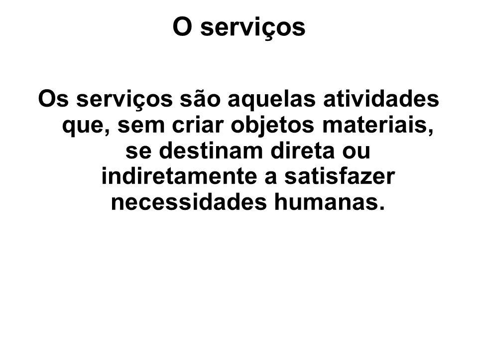 O serviços Os serviços são aquelas atividades que, sem criar objetos materiais, se destinam direta ou indiretamente a satisfazer necessidades humanas.