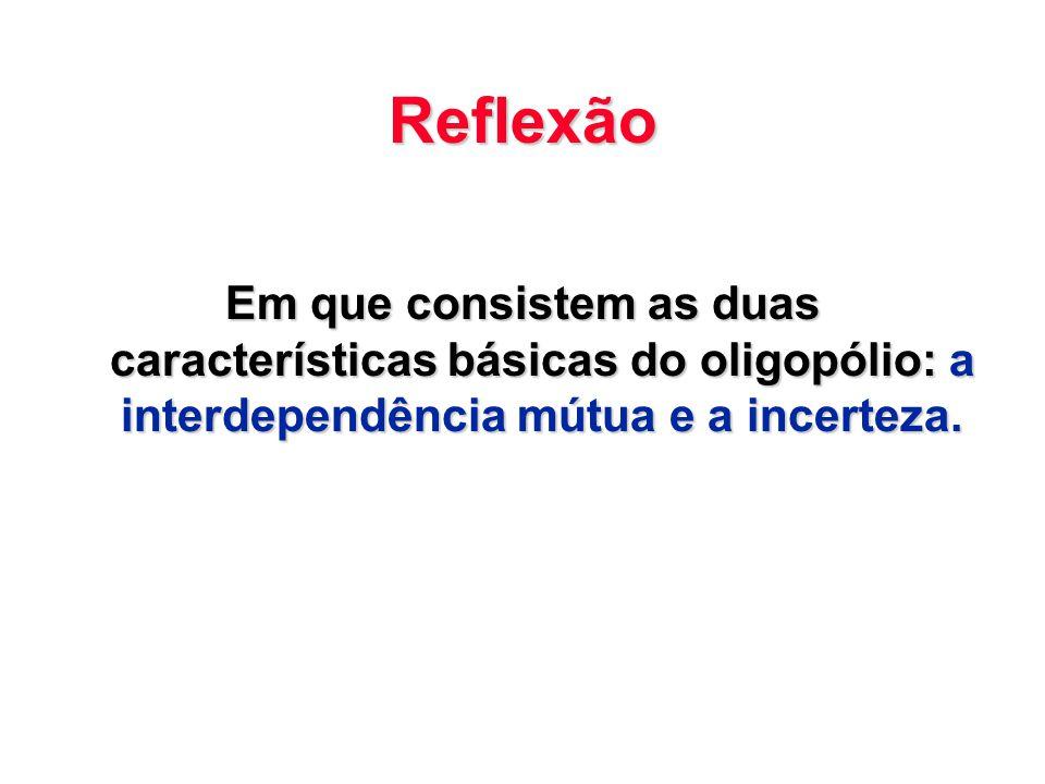 Reflexão Em que consistem as duas características básicas do oligopólio: a interdependência mútua e a incerteza.