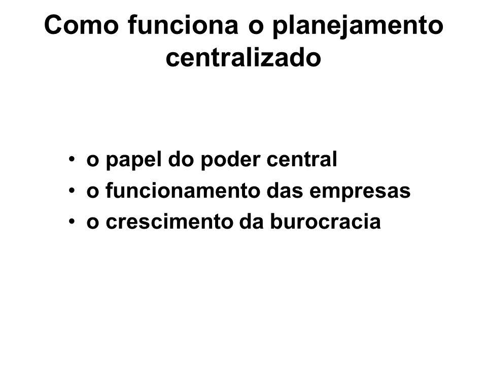 Como funciona o planejamento centralizado o papel do poder central o funcionamento das empresas o crescimento da burocracia