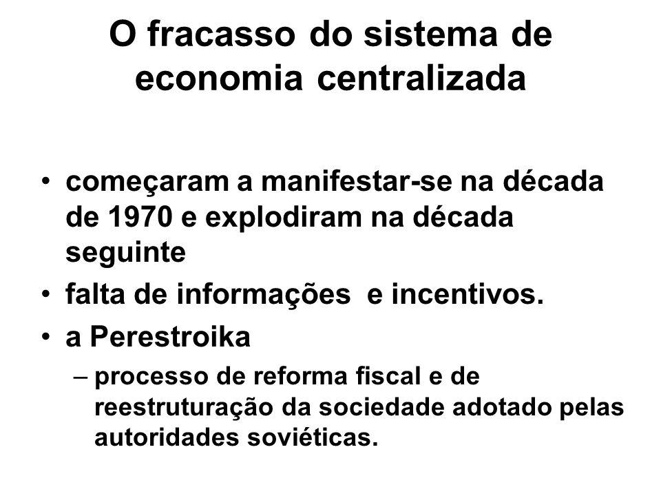 O fracasso do sistema de economia centralizada começaram a manifestar-se na década de 1970 e explodiram na década seguinte falta de informações e ince