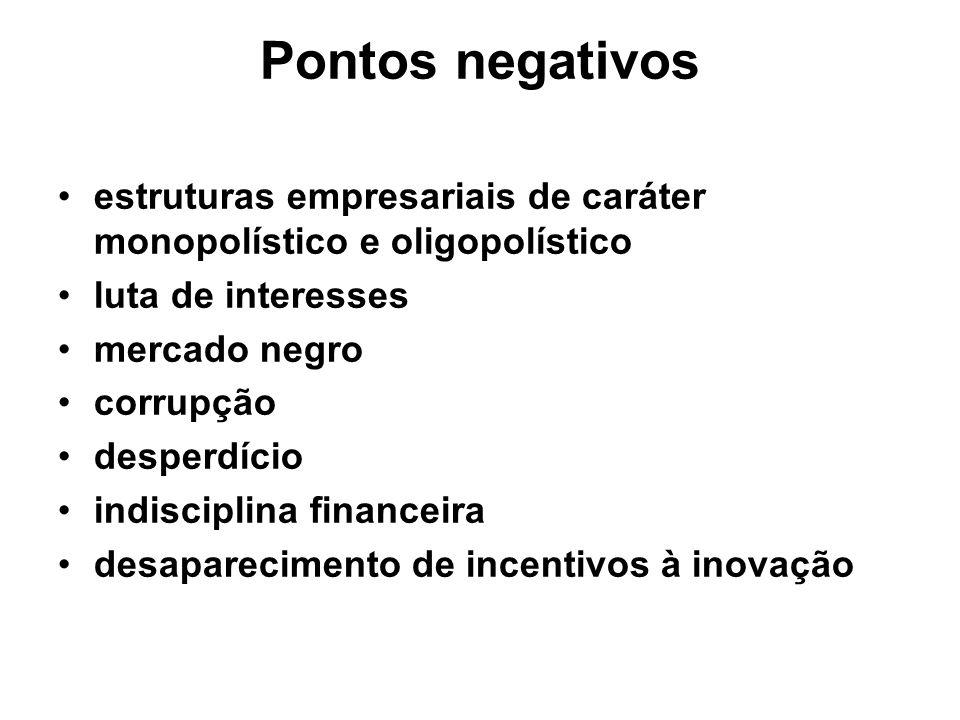 Pontos negativos estruturas empresariais de caráter monopolístico e oligopolístico luta de interesses mercado negro corrupção desperdício indisciplina