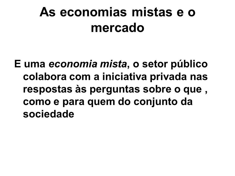 As economias mistas e o mercado E uma economia mista, o setor público colabora com a iniciativa privada nas respostas às perguntas sobre o que, como e