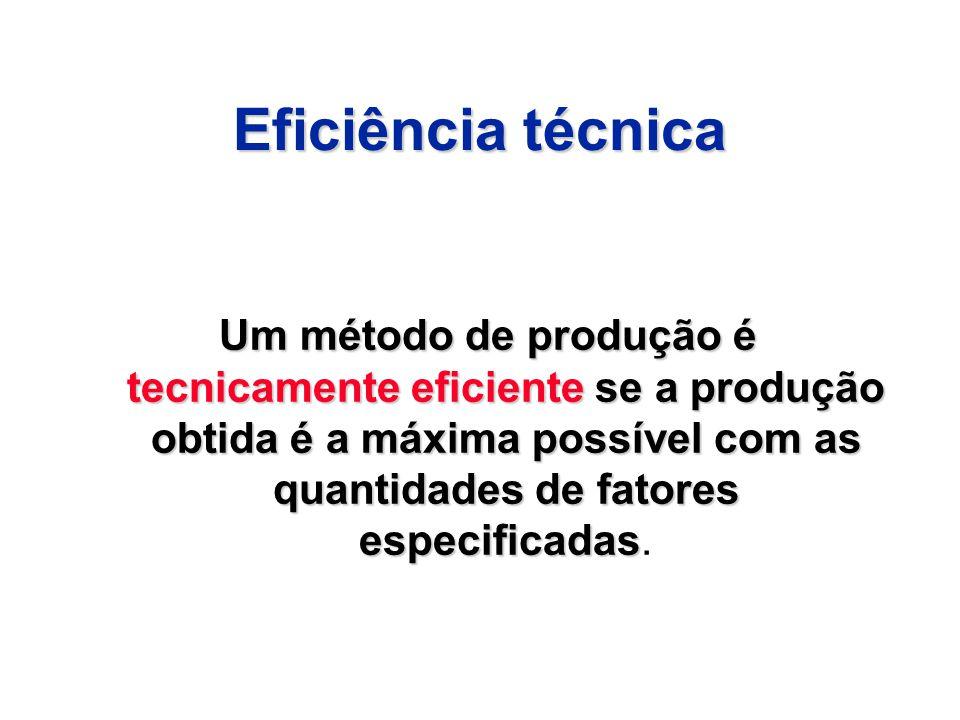 Eficiência técnica Um método de produção é tecnicamente eficiente se a produção obtida é a máxima possível com as quantidades de fatores especificadas