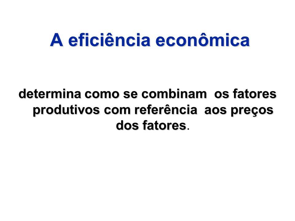 A eficiência econômica determina como se combinam os fatores produtivos com referência aos preços dos fatores determina como se combinam os fatores pr