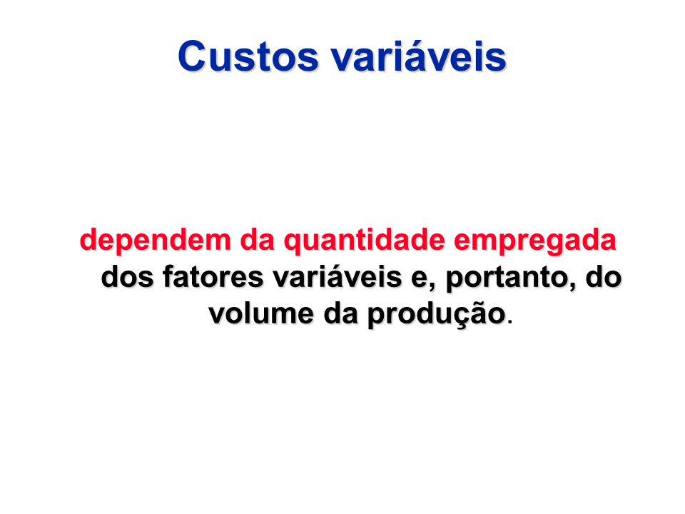 Custos variáveis dependem da quantidade empregada dos fatores variáveis e, portanto, do volume da produção dependem da quantidade empregada dos fatore