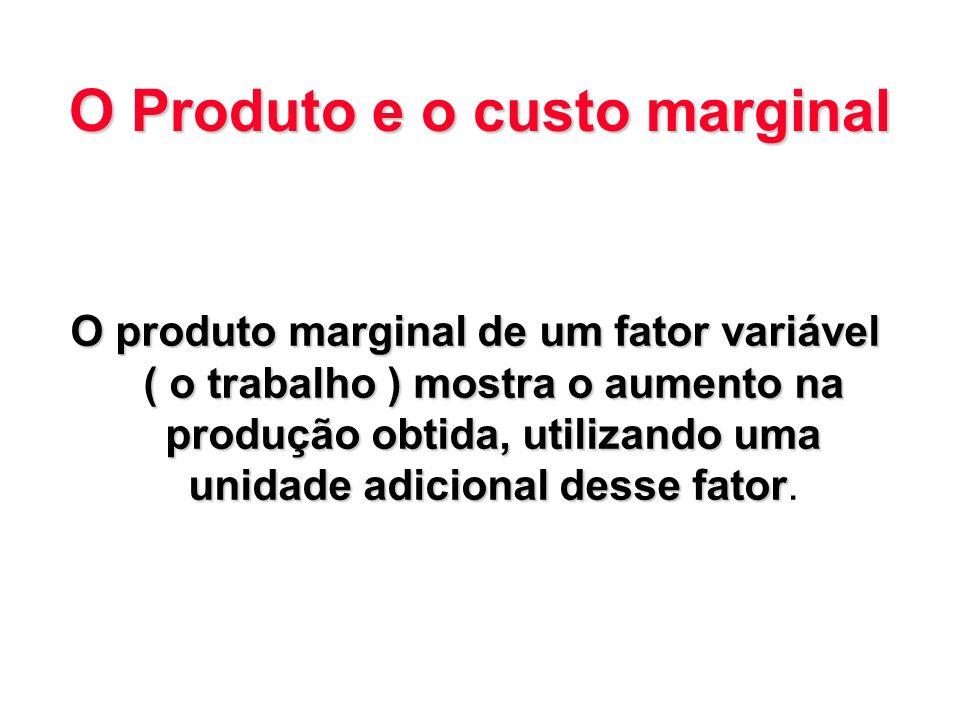 O Produto e o custo marginal O produto marginal de um fator variável ( o trabalho ) mostra o aumento na produção obtida, utilizando uma unidade adicio