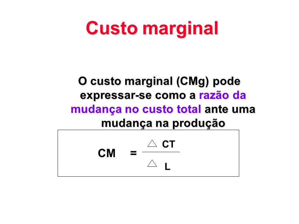Custo marginal O custo marginal (CMg) pode expressar-se como a razão da mudança no custo total ante uma mudança na produção CM= CT L